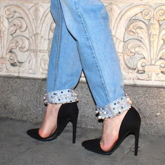 jeans embellished denim denim blue jeans shoes black shoes pumps high heel pumps black pumps