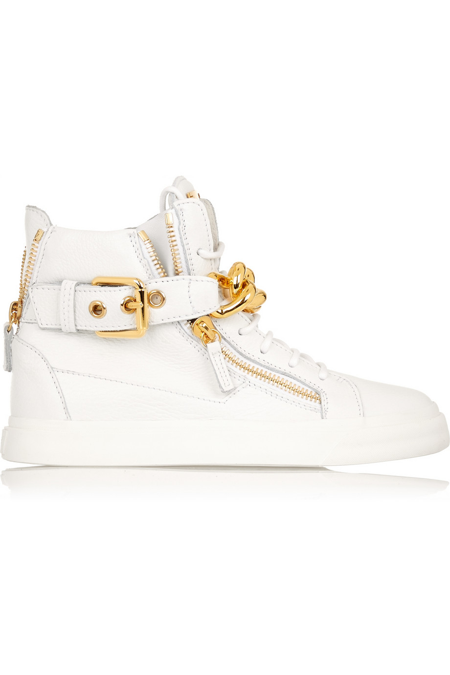 Giuseppe Zanotti Chain-embellished leather sneakers – 30% at THE OUTNET.COM