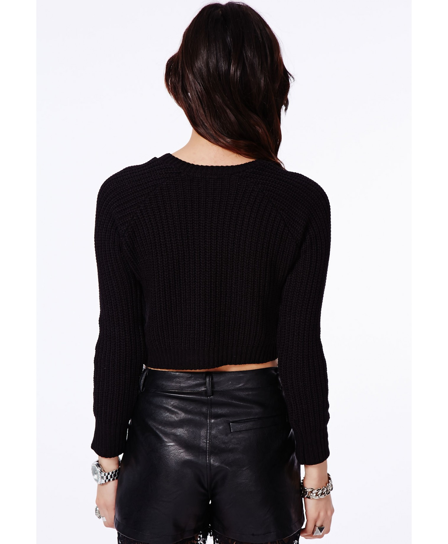 Berte cropped jumper in black