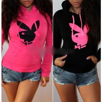 black fashion pink blouse cute sexy sportswear playboy playboy hoodie playboy sweater trend trendy neon women girl sports top