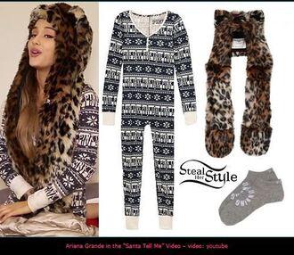 pajamas victoria's secret onesie ariana grande socks leopard print