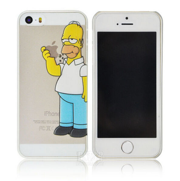 free shipping 775aa 11240 Homer Simpson Eating Apple Hard Transparent Case for Apple iPhone 5 5S