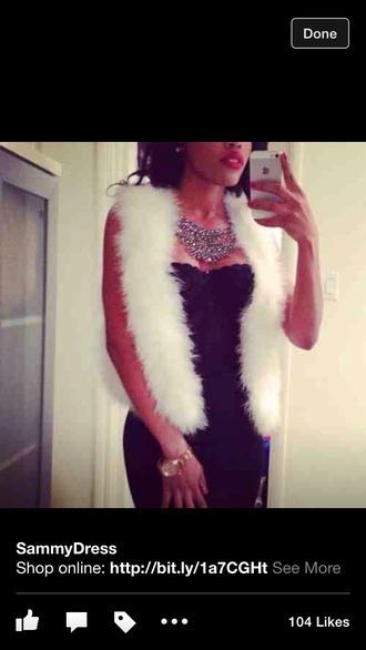 coat fur gilet white fur jewels