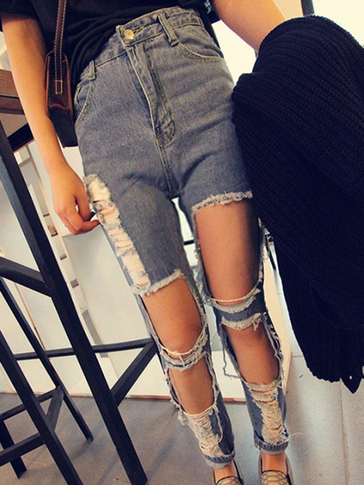 Straight Jeans with Big Holes in Watercolour Blue | Choies