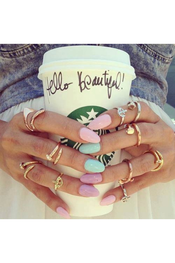 jewels ring jewelry gold knuckle ring starbucks coffee starbucks coffee nails nail polish pastel mint pink lavender ring gold midi rings rose gold ring knuckle ring purple blue nail accessories nalis rings and tings home accessory