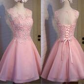 dress,lace up,pink,applique,mini,round neck,sweet sixteen dresses dress,aline,sleeveless
