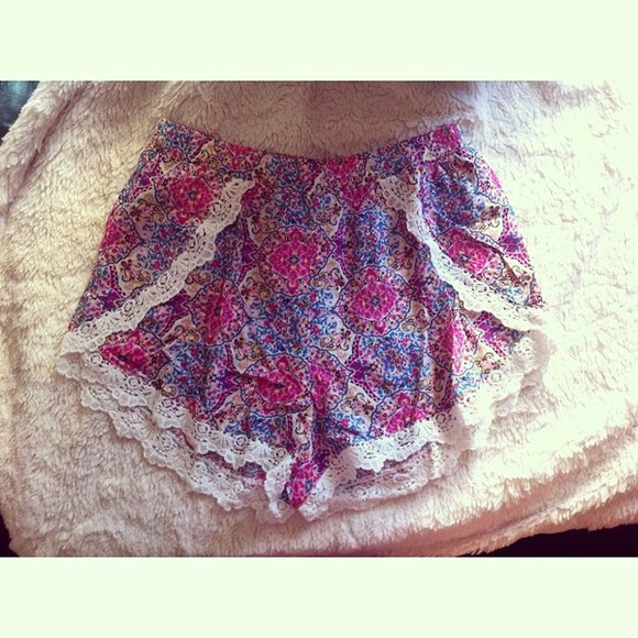 printed shorts pink white floral printed shorts blue material material shorts lace trim purple