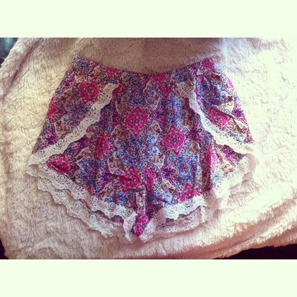 Shorts: material, material shorts, lace trim, pink, purple, blue ...