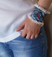 jewels,denim bracelet fabric,boho bracelet,handmade bracelet,denim blue,coral denim jeans,spring summer 2015,women jewelry,cuff bracelet,girl,teen girls,birthday gift,girlfirend gift,palm leaf fabric