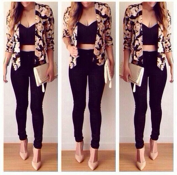 outfit jacket flowers