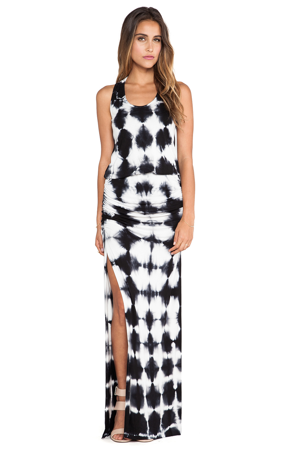 Young, fabulous & broke mel maxi crosshatch dress in black from revolveclothing.com