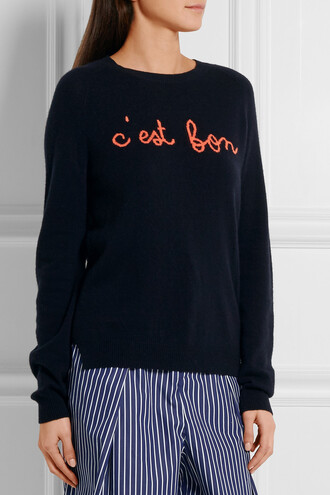 sweater navy embroidered