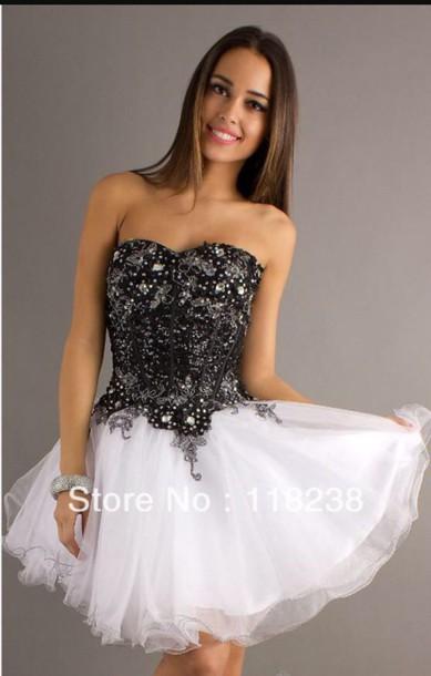 Dress Black White Strapless Knee Length Sparkles Wheretoget