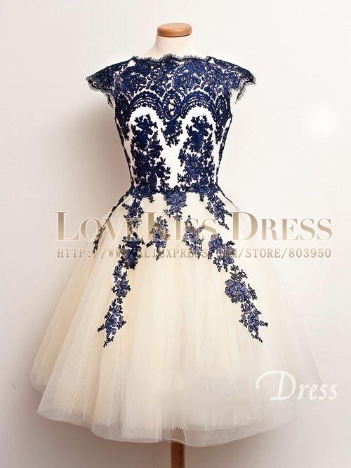 Aliexpress Buy Short Tulle Bridesmaid Dresses Cap Sleeve Navy