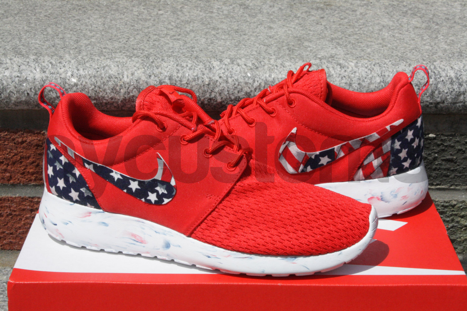 fed3b395afa6 Free Shipping - Nike Roshe Run Red Marble American Flag Pride Print Custom