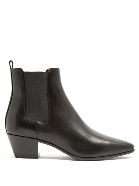 Saint Laurent heel rock chelsea boots leather black shoes