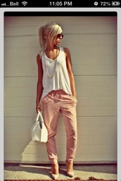 pants,pink pants,blush pink,harlem pants,cinched waist,pink,baggy,boho,summer,blouse,shoes,shirt,whole outfit..,peach pants,loose pants,beautiful,white top,top,fall outfits,casual,white,tank top,earphones,jeans,white tank top,bag,white bag,spring outfits,high heel pumps,pumps,nude pumps,sunglasses