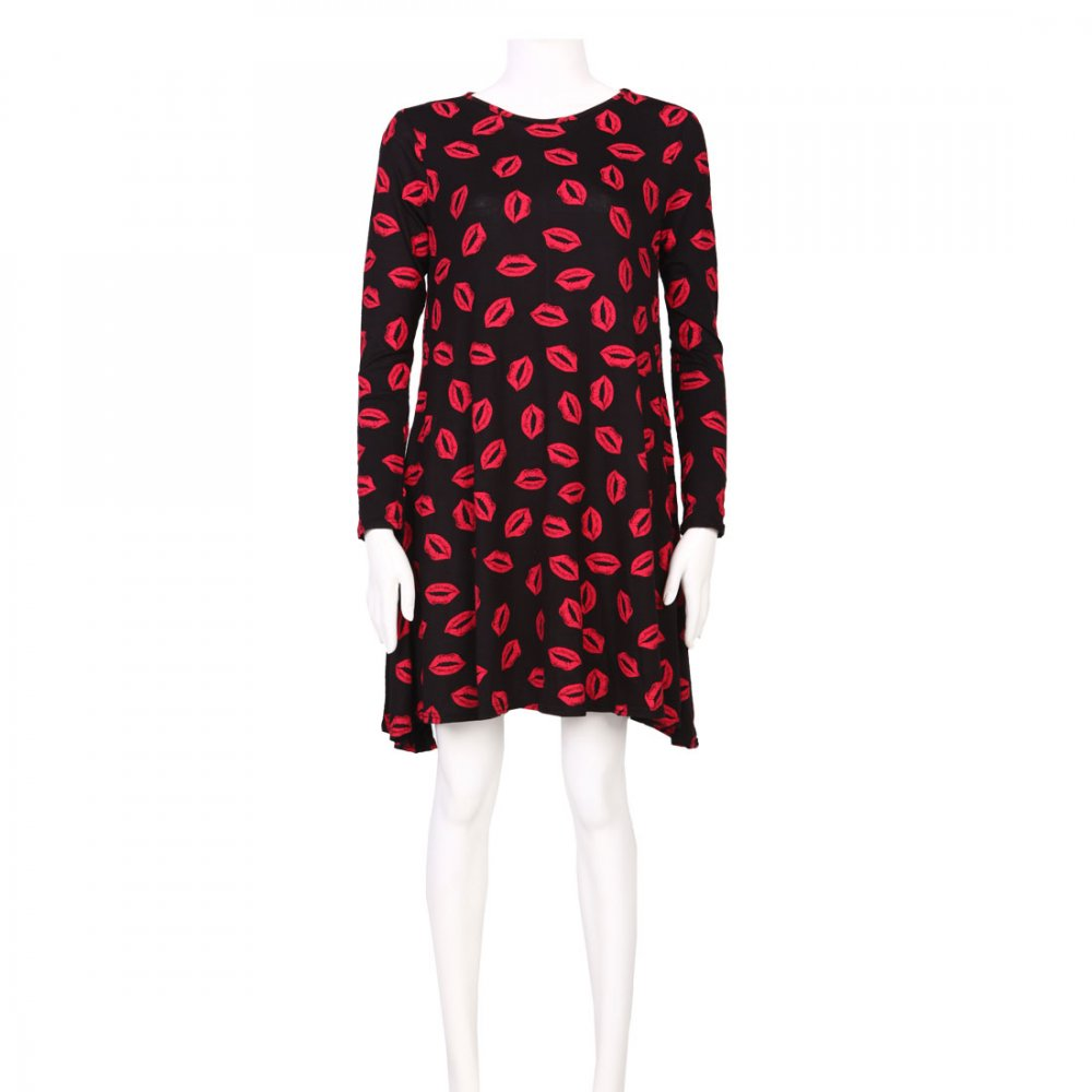 Black red lips print swing dress