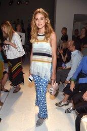 pants,top,blouse,blogger,olivia palermo,NY Fashion Week 2016,blue pants,polka dots,fringes,pink bag,shoulder bag