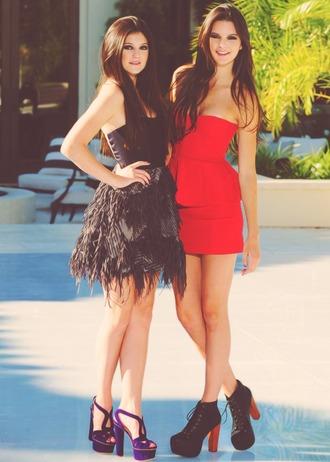 dress kendall jenner kylie jenner shoes high heels red dress black dress