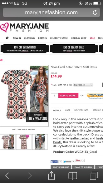 dress lucy watson neon aztec printed patterned shift swing orange coral