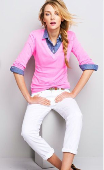 white pants shirt denim shirt denim button up pink v neck pink sweater denim pink
