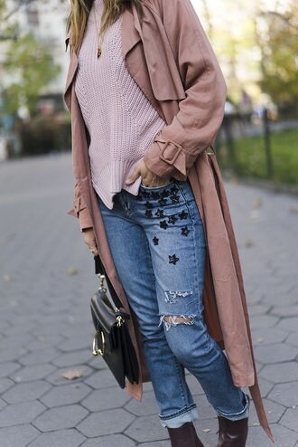 jeans tumblr coat pink coat duster coat long coat embellished embroidered embroidered jeans sweater pink sweater dusty pink bag black bag blue jeans denim