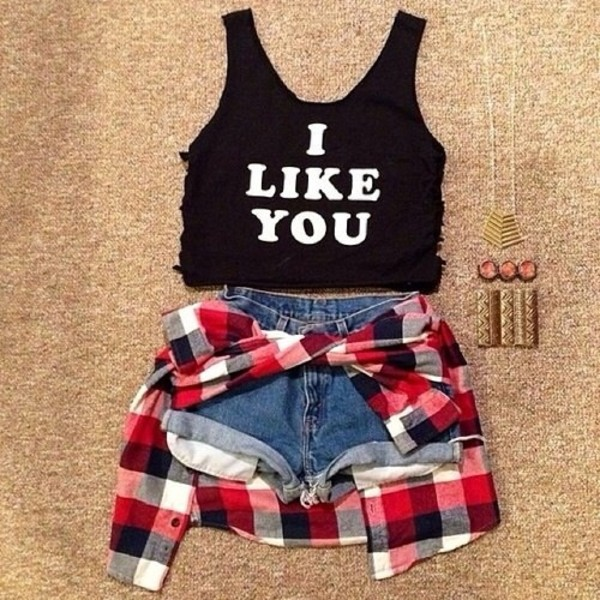 shirt black tank top tank top hipster white quote on it crop crop tops crop tops shorts jewels sweater t-shirt jewelry flannel red flannel necklace coat ilikeit blouse shoes top