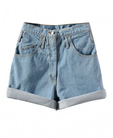 Oversized Light Blue High Waist Denim Shorts with Rolled Cuffs