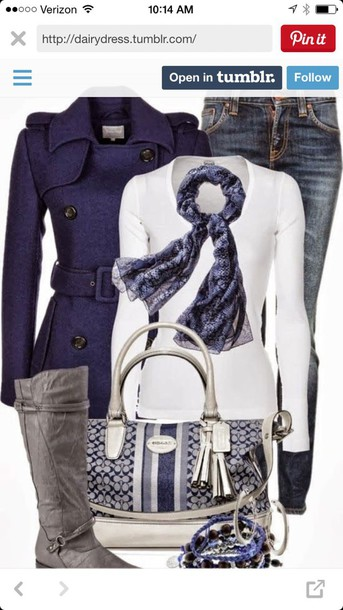 coat blue violet jacket blouse white top and scarf jacket Navy jacket