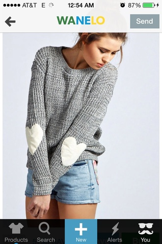 sweater grey heart white sleeves elbo patches shorts elbow patches heart sweater