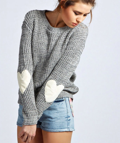 sweater grey heart boohoo.com elbow patches heart grey white elbo patches shorts shirt heart sweater