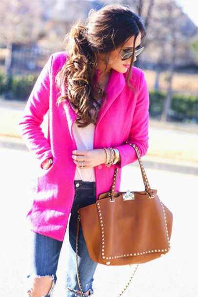 blogger pink coat ripped jeans coat