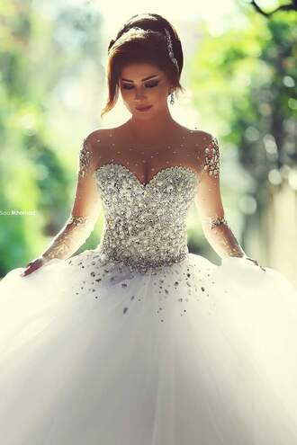 dress white bedazzled bustier long sleeve dress