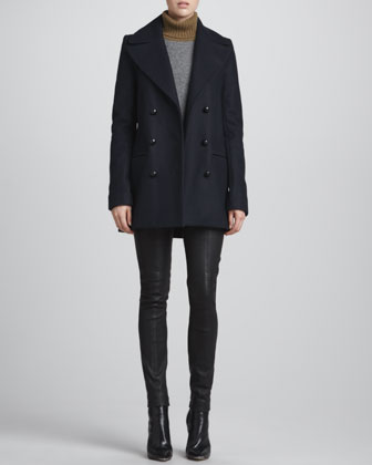 ALC Savannah Felt Pea Coat, Mehai Tricolor Sweater & Misa Leather Skinny Pants - Neiman Marcus