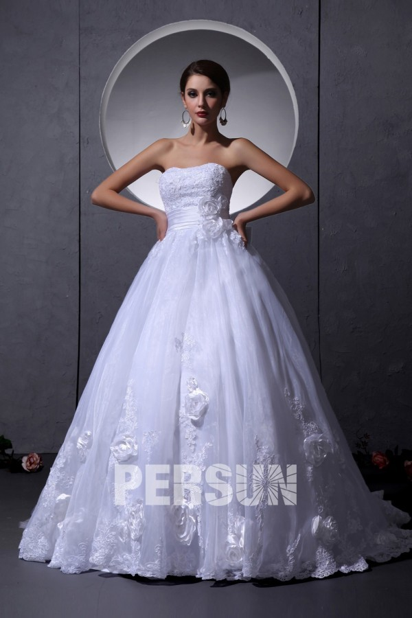 Strapless White Court train Empire Flowers Church Wedding ball gown [WBCD1668] - PersunMall.com