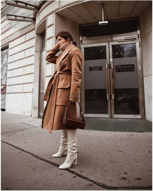8b6895b43c6 shoes white boots over the knee brown coat brown bag leather boots high  heels boots turtleneck