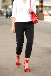 shoes,sandals,red sandals,Red suede sandals,aquazzura,Aquazzura sandals,pants,black pants,shirt,white shirt,bag,red bag