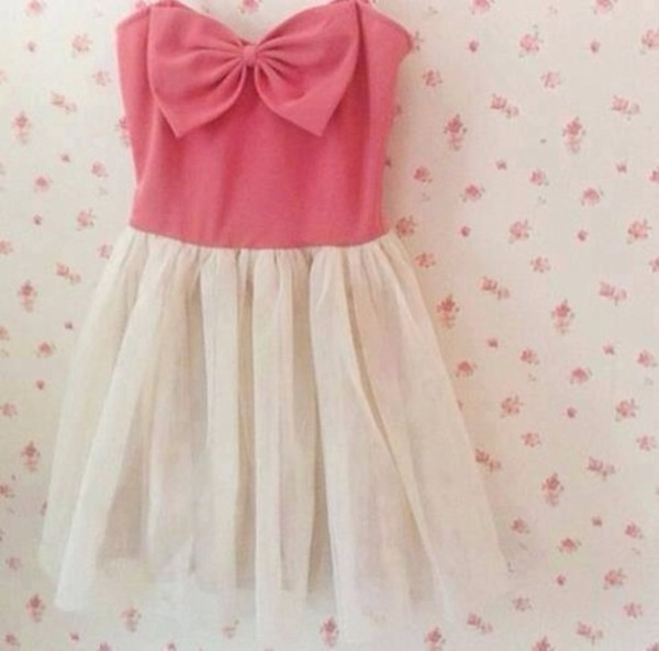 dress pink white bow