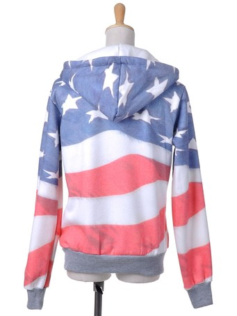 ANNA-KACI S/M FIT RED, WHITE AND BLUE AMERICAN FLAG ZIP UP FASHION HOODIE JACKET on The Hunt
