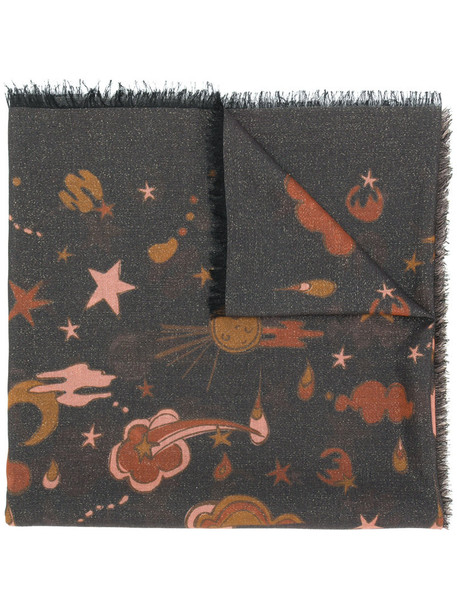 coach space women scarf silk grey