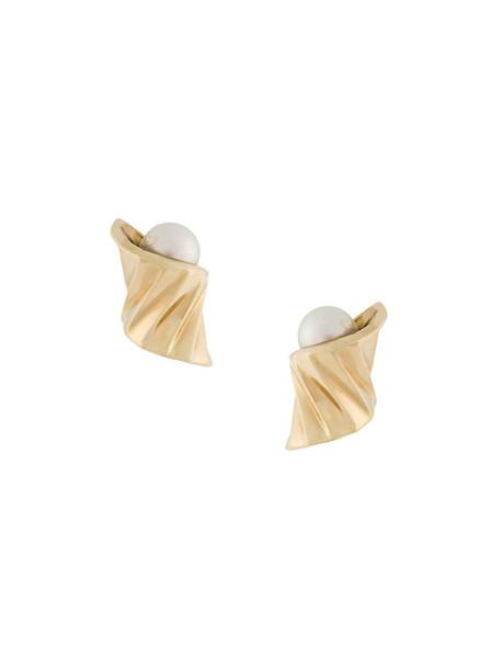 S/H Koh women earrings gold grey metallic jewels