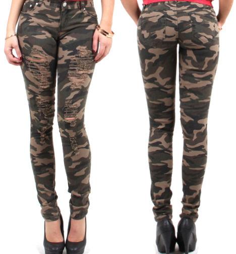 Women's Skinny Destroyed Army Camo Pants | eBay