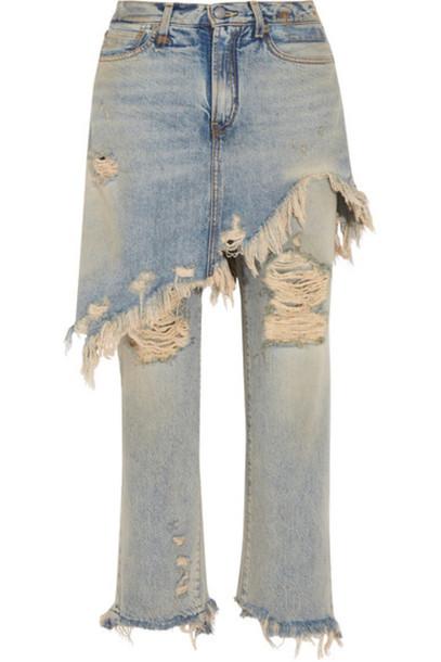 R13 - Layered Distressed High-rise Straight-leg Jeans - Light blue