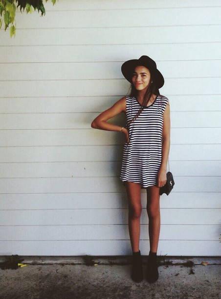 dress black white black and white black and white dress stripes striped dress bag hat