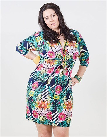Tropical Print V Neck Summer Dress by Frocksville