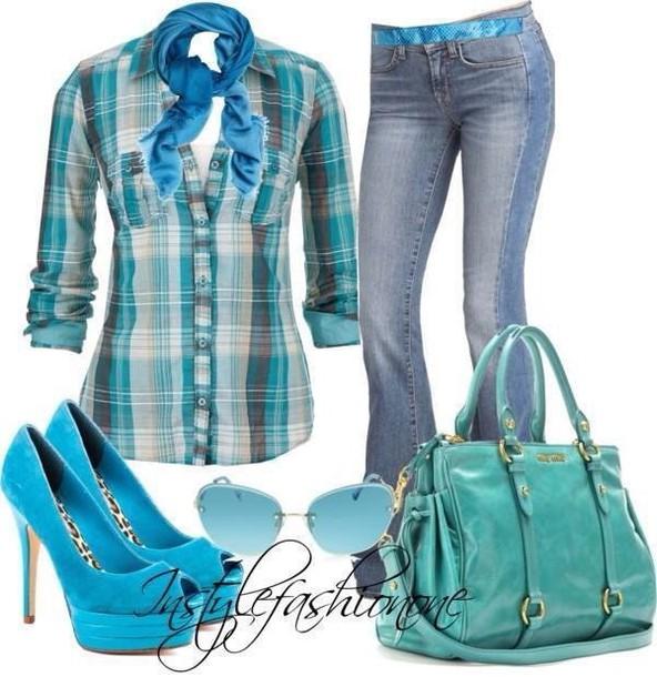 bag plaid shirt blue