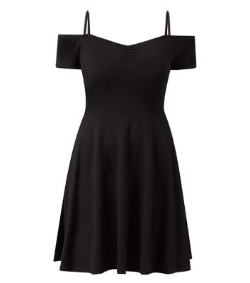 Black strappy bardot neck skater dress