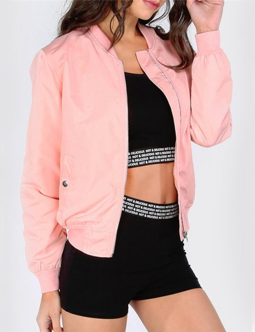 Pink Twin Pockets Basic Jacket