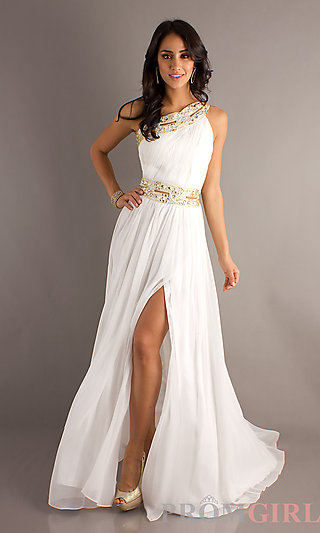 One Shoulder Prom Gown, Bari Jay One Shoulder Prom Dress-PromGirl